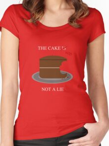 The cake is/was not a lie (White letters) Women's Fitted Scoop T-Shirt