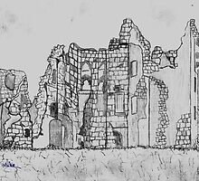Pencil Sketch of Old Wardour Castle, England by Dennis Melling
