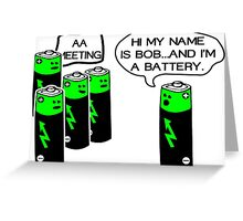 Aa battery meeting Funny Geek Nerd Greeting Card