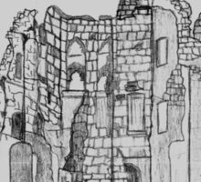 Pencil Sketch of Old Wardour Castle, England Sticker