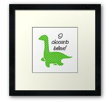 """""""Nessie"""" Lochness Monster Green Polka Dots Dotted Bright Cute Mythical Creature Framed Print"""