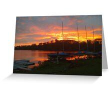 Sunset at Shropshire sailing club no flash Greeting Card