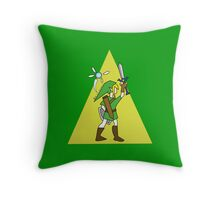 Link and Navi - TRIFORCE Throw Pillow