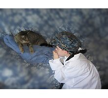 Playing the Blues to a cat Photographic Print