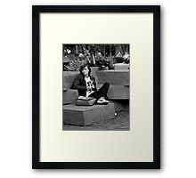 Boy on Blocks Framed Print