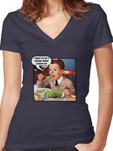 Little Tommy Always Eats His Greens! Women's Fitted V-Neck T-Shirt