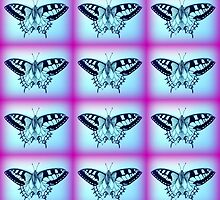 purple and blue butterflies by cathyjacobs