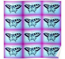 purple and blue butterflies Poster