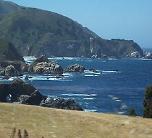The Pacific coast off of the Pacific Coast Highway by teatime