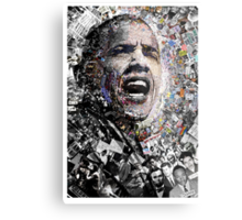 """""""I Am Not A Perfect Man"""", Obama Civil Rights and Protest Collage Metal Print"""