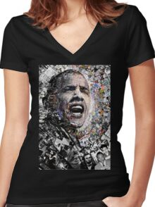 """I Am Not A Perfect Man"", Obama Civil Rights and Protest Collage Women's Fitted V-Neck T-Shirt"
