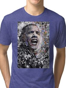 """""""I Am Not A Perfect Man"""", Obama Civil Rights and Protest Collage Tri-blend T-Shirt"""