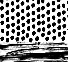 Zoe - Black and white dots, stripes, painted, painterly, hand-drawn, bw, monochrome trendy design by charlottewinter
