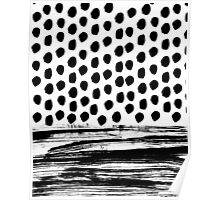 Zoe - Black and white dots, stripes, painted, painterly, hand-drawn, bw, monochrome trendy design Poster