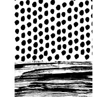 Zoe - Black and white dots, stripes, painted, painterly, hand-drawn, bw, monochrome trendy design Photographic Print