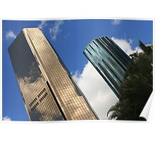 Gold and blue sky scrapers of Brisbane Poster