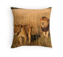 Lioness & Male Lion in the Marsh Throw Pillow