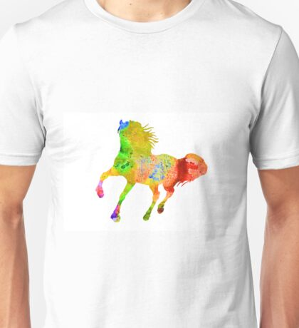 Horse colorful silhouette art print watercolor paintig Unisex T-Shirt