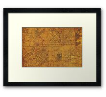 Distressed Maps: Marauders Map Inside Framed Print
