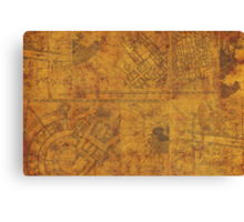 Distressed Maps: Marauders Map Inside Canvas Print