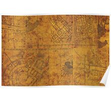 Distressed Maps: Marauders Map Inside Poster