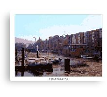 Pixel Art Cities: Hamburg Canvas Print