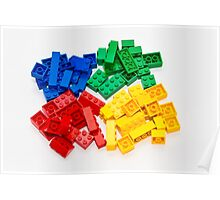 4 colors lego bricks blue green yellow red Poster