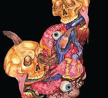 Watercolor Skull, Heart and Guts Painting by RachelFerguson