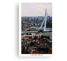 Pixel Art Cities: Rotterdam Canvas Print