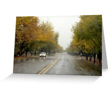 Driving In The Rain Greeting Card