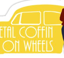 Metal Coffin On Wheels Sticker