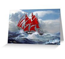 The Clipper Ship Indian Queen in Rough Seas Greeting Card