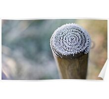 Frosty Winter Fence Post Poster