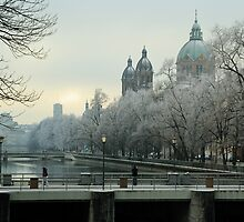 Winter on the Isar, Munich by Mark Heller
