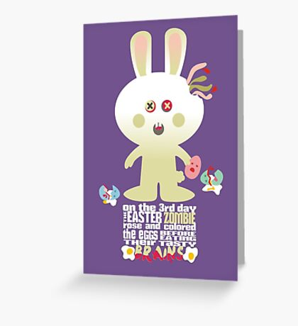 cute zombie bunny eating Easter egg brains Greeting Card