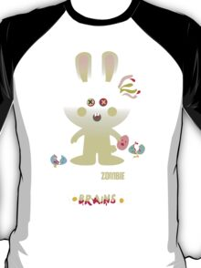 cute zombie bunny eating Easter egg brains T-Shirt