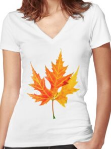 autumn maple-leaf Women's Fitted V-Neck T-Shirt