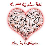 Love Joy & Happiness Pink Heart  Photographic Print