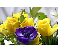 Yellow Roses and Purple Anemones......... Photographic Print