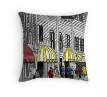 Savannah River Street cityscape painting 4 Throw Pillow