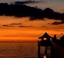 Naples, Florida.....A Pier at sunset...... by Larry Llewellyn