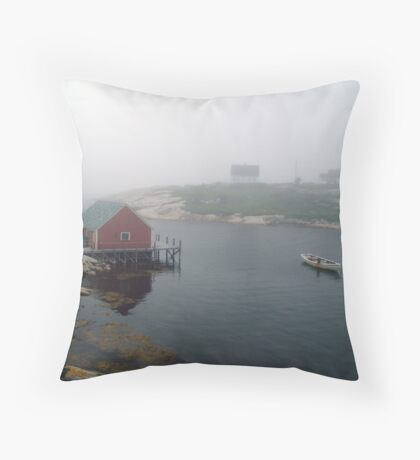 Foggy Day in Peggy's Cove (1) Throw Pillow