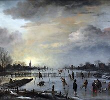 1658 van der Neer Winter Landscape with Skaters Anagoria Painting Photograph by tshirtdesign