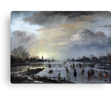 1658 van der Neer Winter Landscape with Skaters Anagoria Painting Photograph Canvas Print