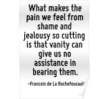 What makes the pain we feel from shame and jealousy so cutting is that vanity can give us no assistance in bearing them. Poster