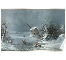The Blizzard, Oil On Canvas Painting by Cornelius Krieghoff, c. 1860 Painting Photograph Poster