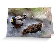 Ducks on Ice (III) Greeting Card