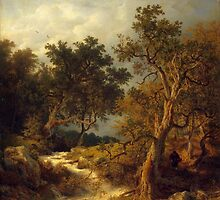 Andreas Achenbach - Landschaft mit Bach Painting Photograph by tshirtdesign