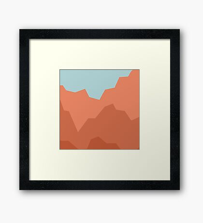 Geometric coral mountains duvet cover Framed Print