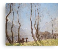 Deutsch: Frühling am Lago di Piano, signiert u. datiert David Murray 1909 Painting Photograph Canvas Print